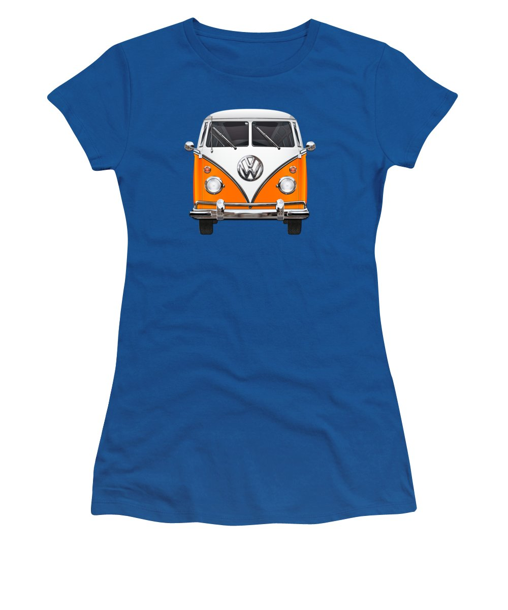 'volkswagen Type 2' Collection By Serge Averbukh Women's T-Shirt featuring the photograph Volkswagen Type - Orange And White Volkswagen T 1 Samba Bus Over Blue Canvas by Serge Averbukh