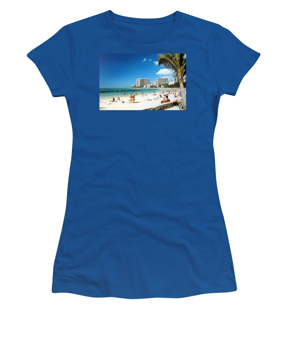 1986 Women's T-Shirt (Athletic Fit) featuring the photograph Waikiki Beach by Will Borden