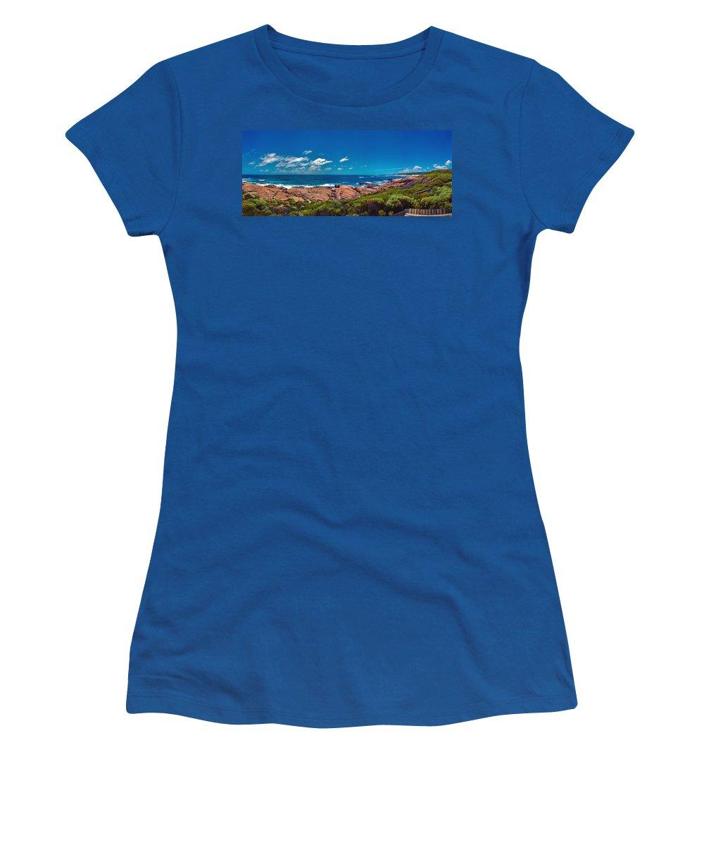 Busselton Jetty; Western Australia; Beach Panorama; Margaret River; Southern Hemisphere; Waterfront; Women's T-Shirt featuring the photograph Western Australia Beach Panorama Margaret River by David Zanzinger