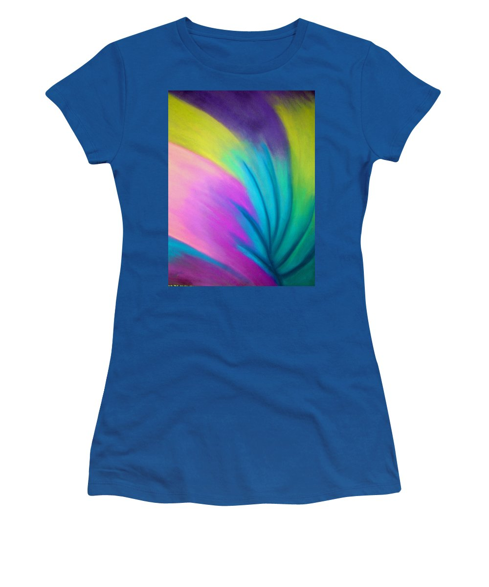 Pastel; Colors; Abstract Drawing Women's T-Shirt (Athletic Fit) featuring the drawing Whirlwind by Jan Gilmore