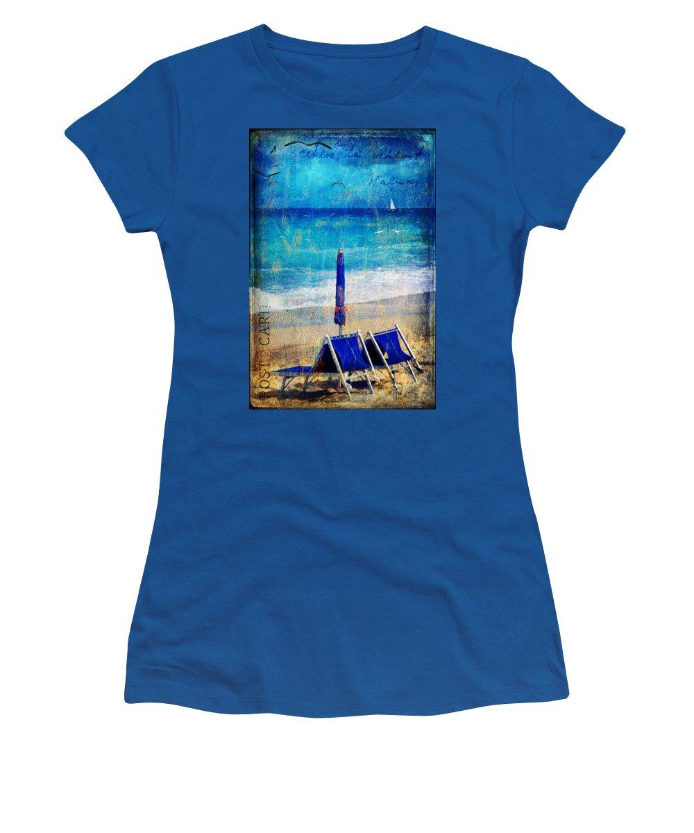 Beach Women's T-Shirt featuring the photograph White Sail by Silvia Ganora