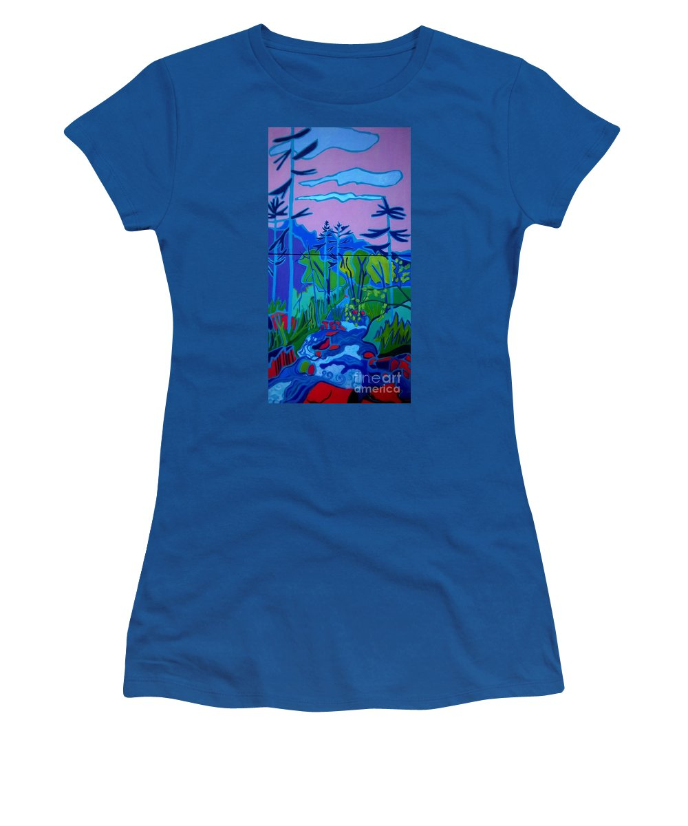Landscape Women's T-Shirt featuring the painting Wildcat River Jackson NH by Debra Bretton Robinson