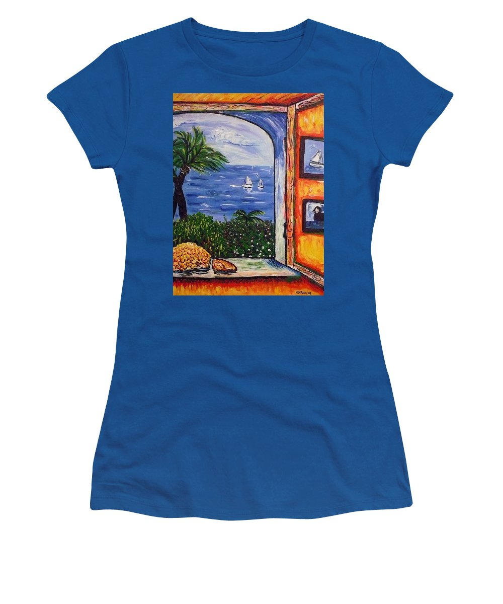 Landscape Women's T-Shirt (Athletic Fit) featuring the painting Window With Coral by Ericka Herazo