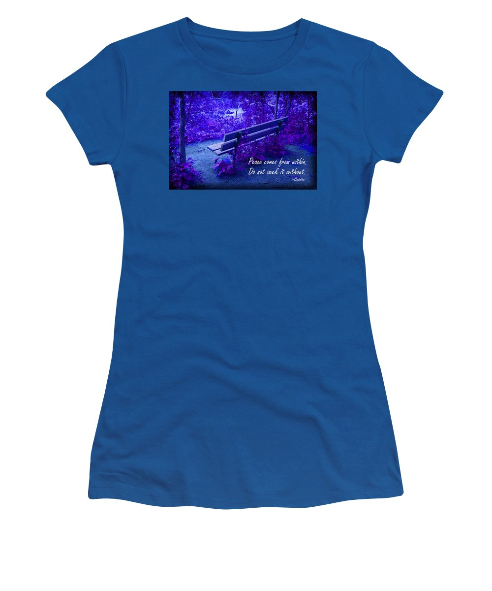 Bench Women's T-Shirt (Athletic Fit) featuring the photograph Wooden Bench With Inspirational Text by Donald Erickson
