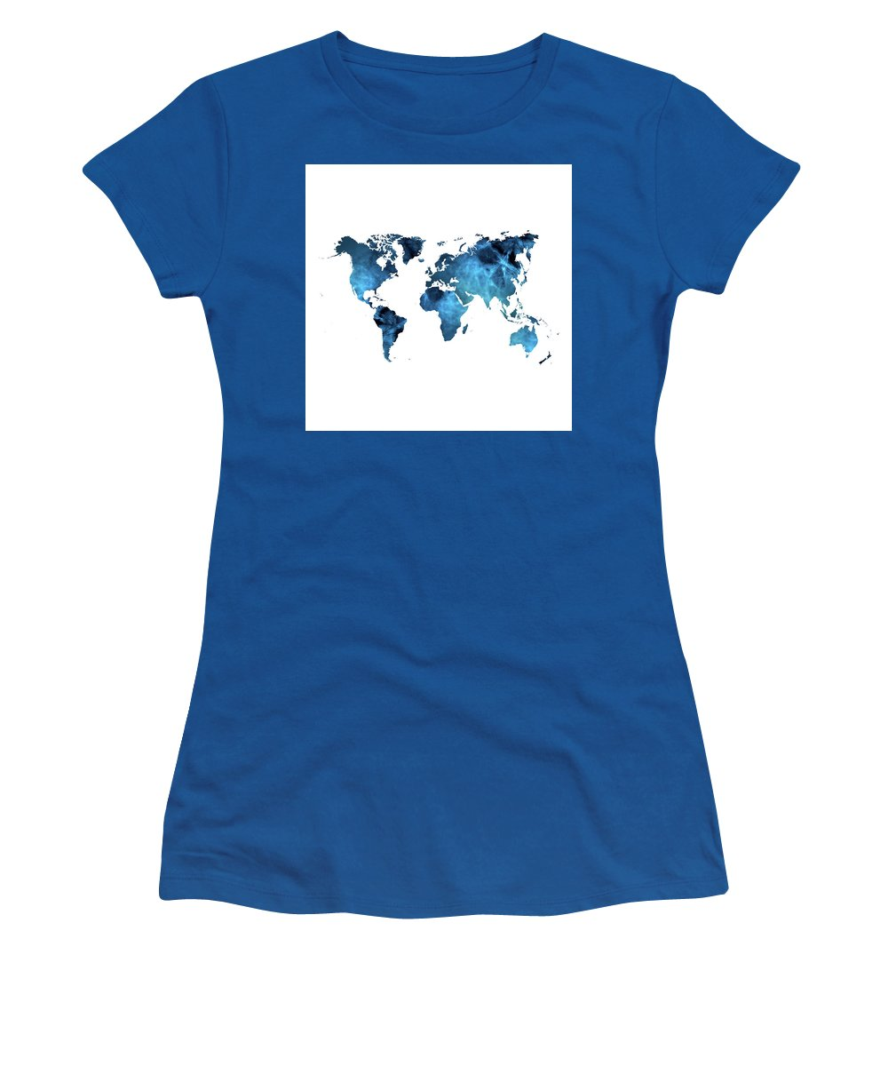 World Women's T-Shirt (Athletic Fit) featuring the digital art World Map Blue by Susan Link