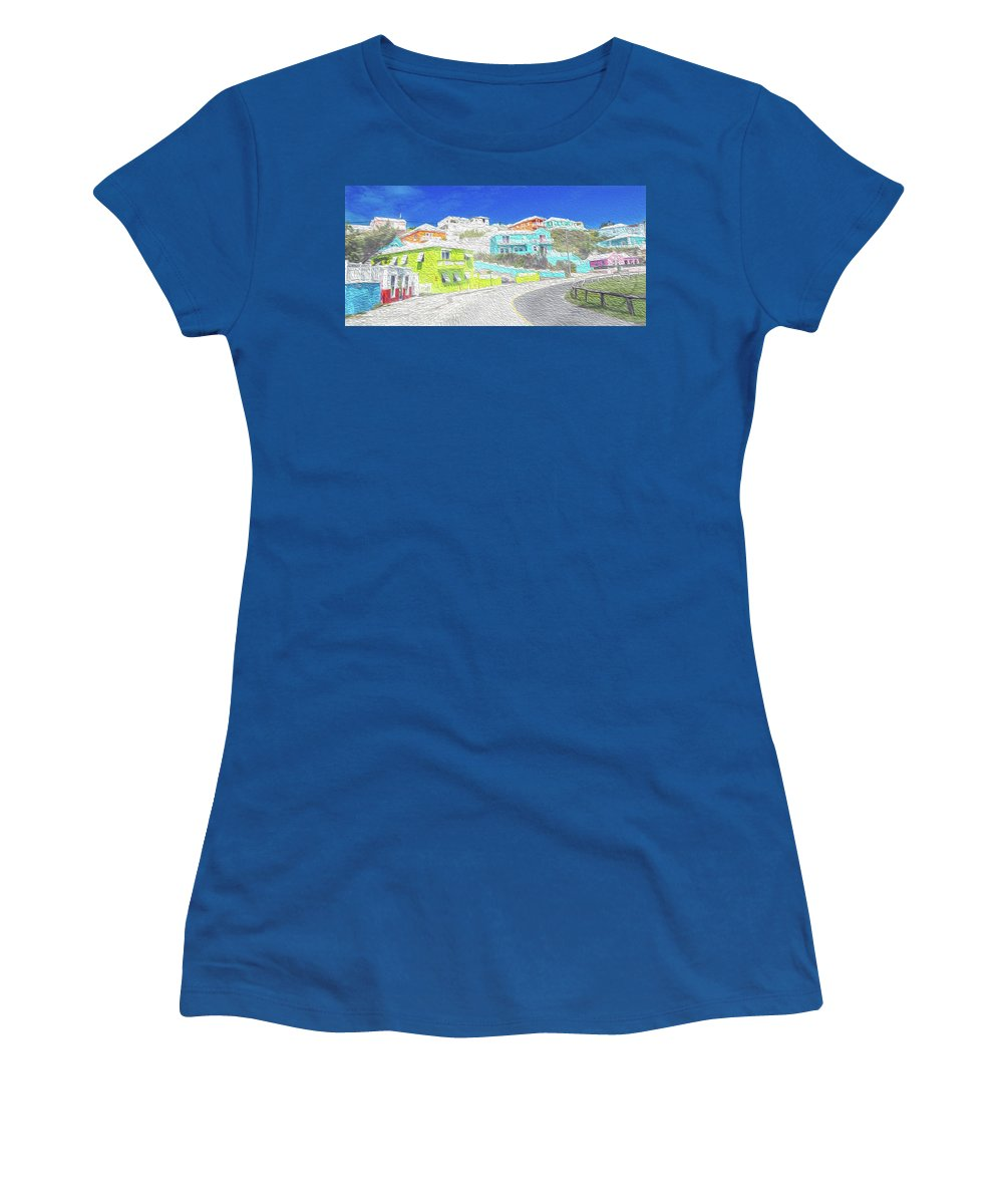 Bermuda Women's T-Shirt featuring the digital art Bright Parish Life Bermuda by Betsy Knapp
