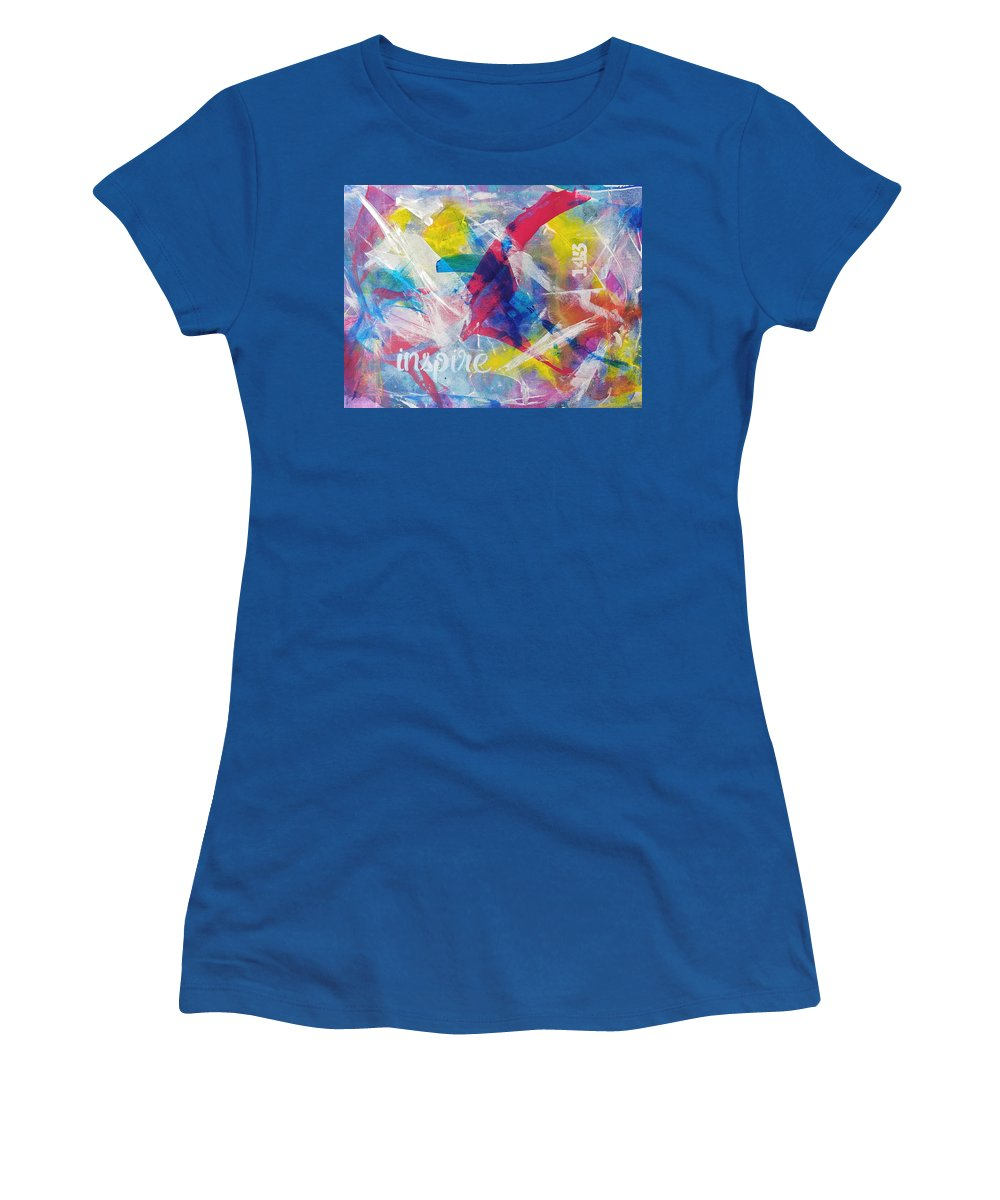 Colorful Women's T-Shirt featuring the painting Inspire by A Bacia