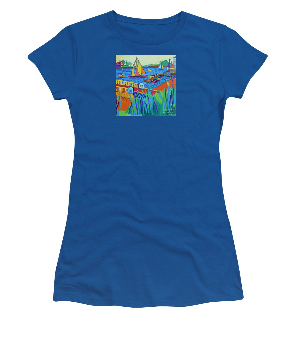 Landscape Women's T-Shirt featuring the painting Sailing at Tucks Point Manchester by the sea by Debra Bretton Robinson