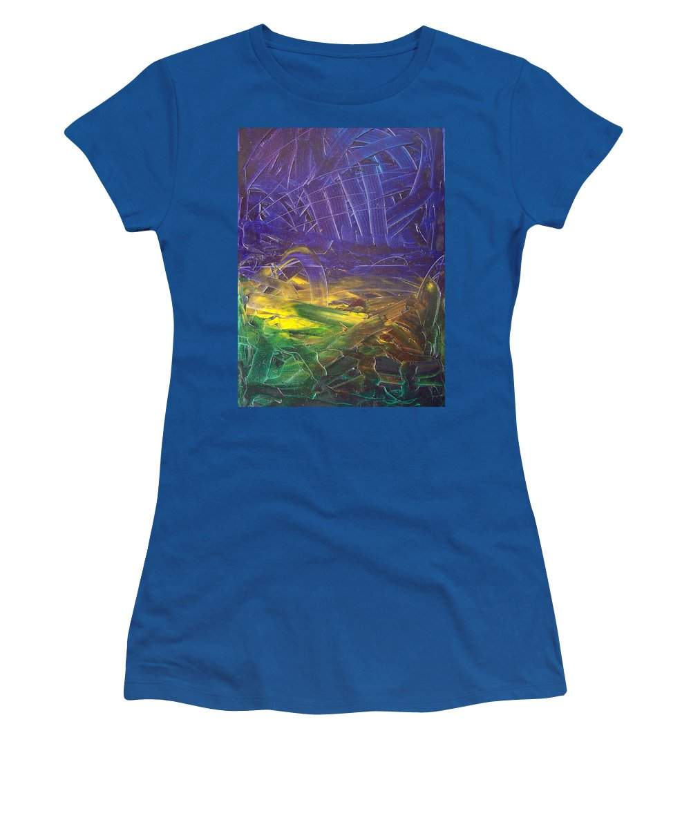 Painting Women's T-Shirt featuring the painting Forest. Part2 by Sergey Bezhinets