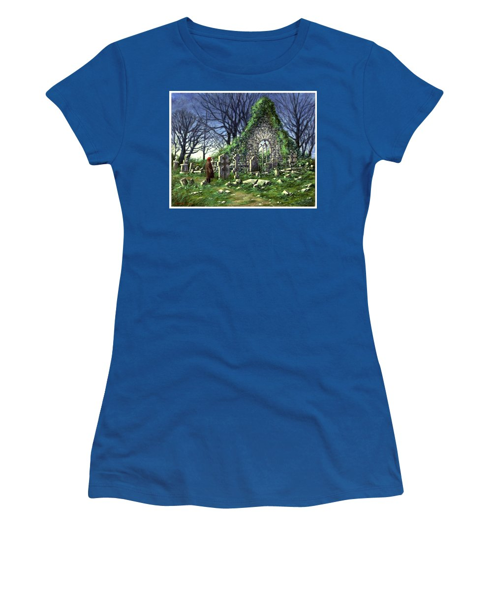 Landscape Women's T-Shirt featuring the painting Londonderry Stones by Jim Gola