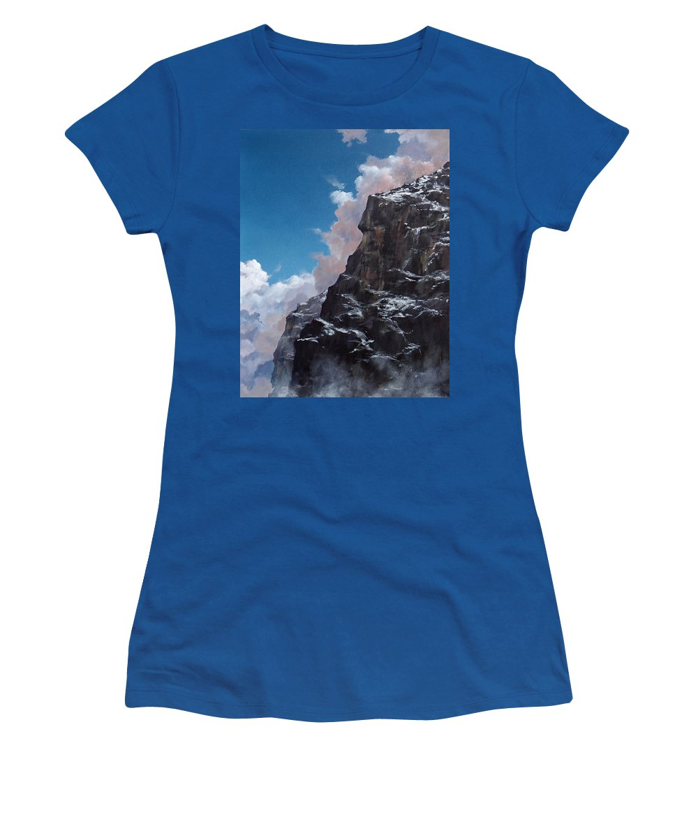 Yosemite Women's T-Shirt featuring the painting Yosemite cliff face by Philip Fleischer