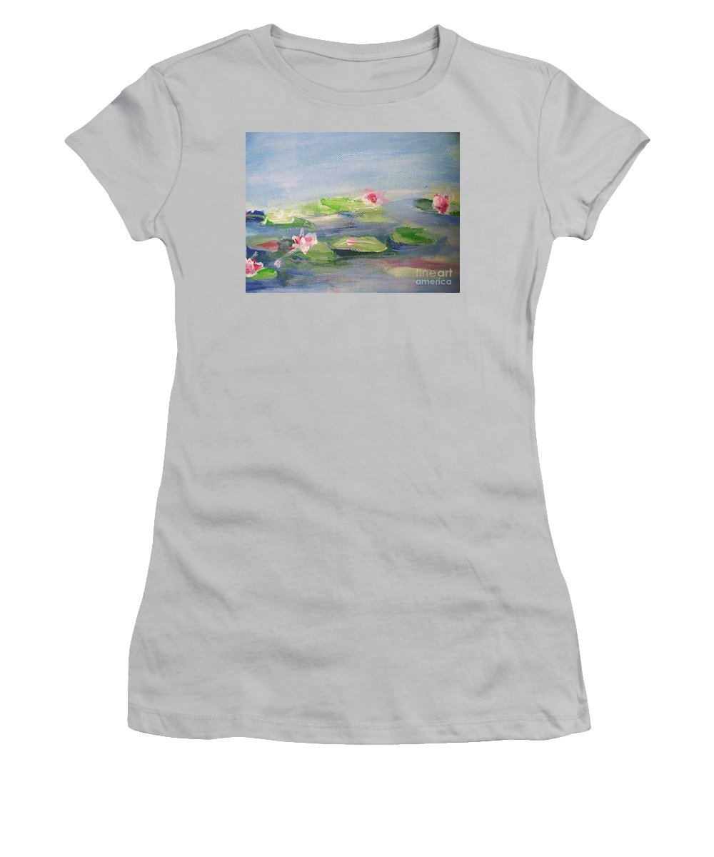 Photograph Women's T-Shirt (Athletic Fit) featuring the painting Impressionistic Lilies Monet by Eric Schiabor