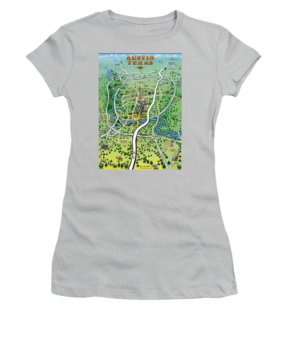 Austin Women's T-Shirt (Athletic Fit) featuring the digital art Austin Tx Cartoon Map by Kevin Middleton