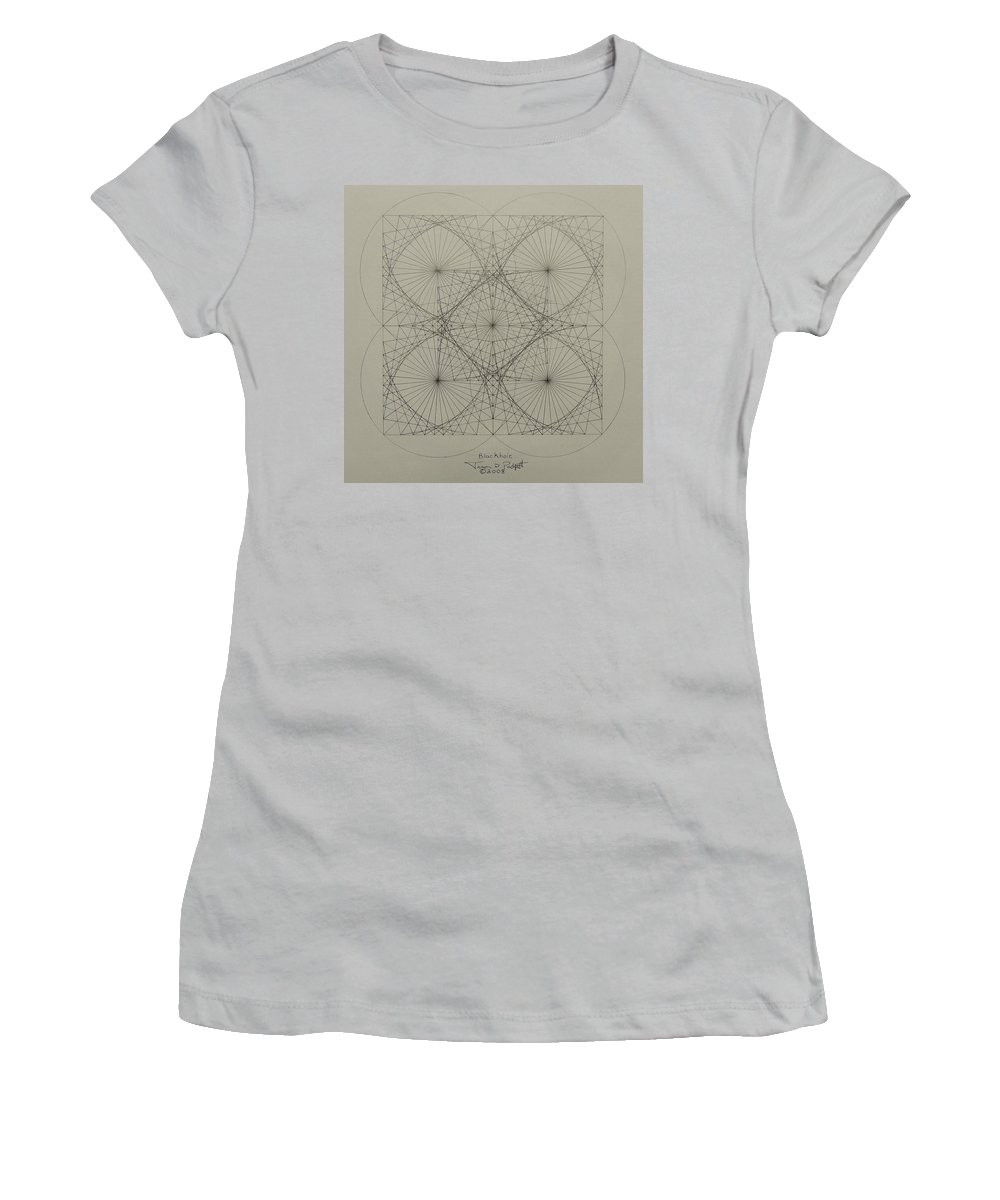 Fractals Women's T-Shirt (Athletic Fit) featuring the drawing Blackhole by Jason Padgett
