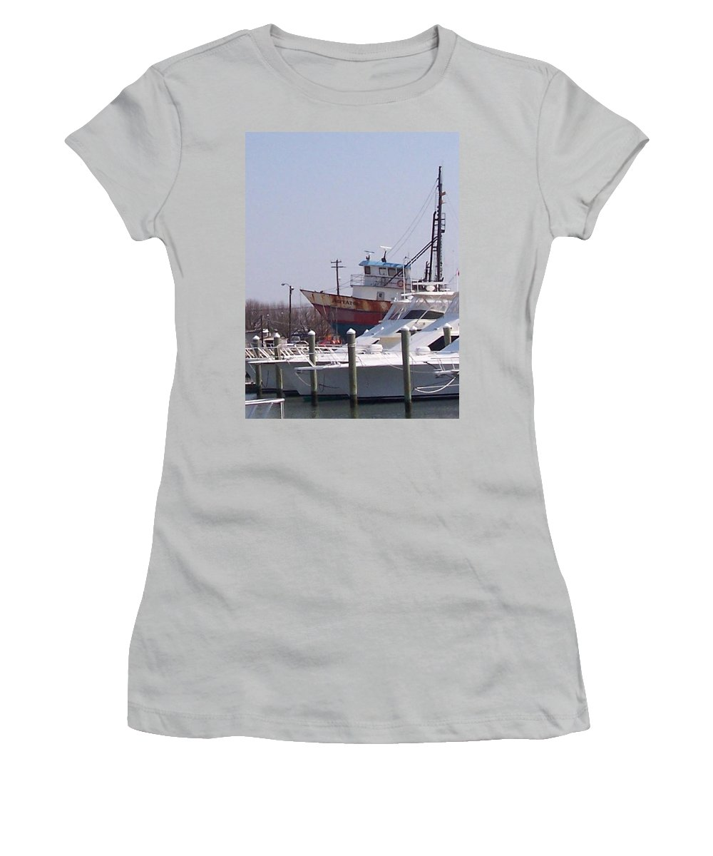 Boat Women's T-Shirt (Athletic Fit) featuring the photograph Boats Docked by Pharris Art