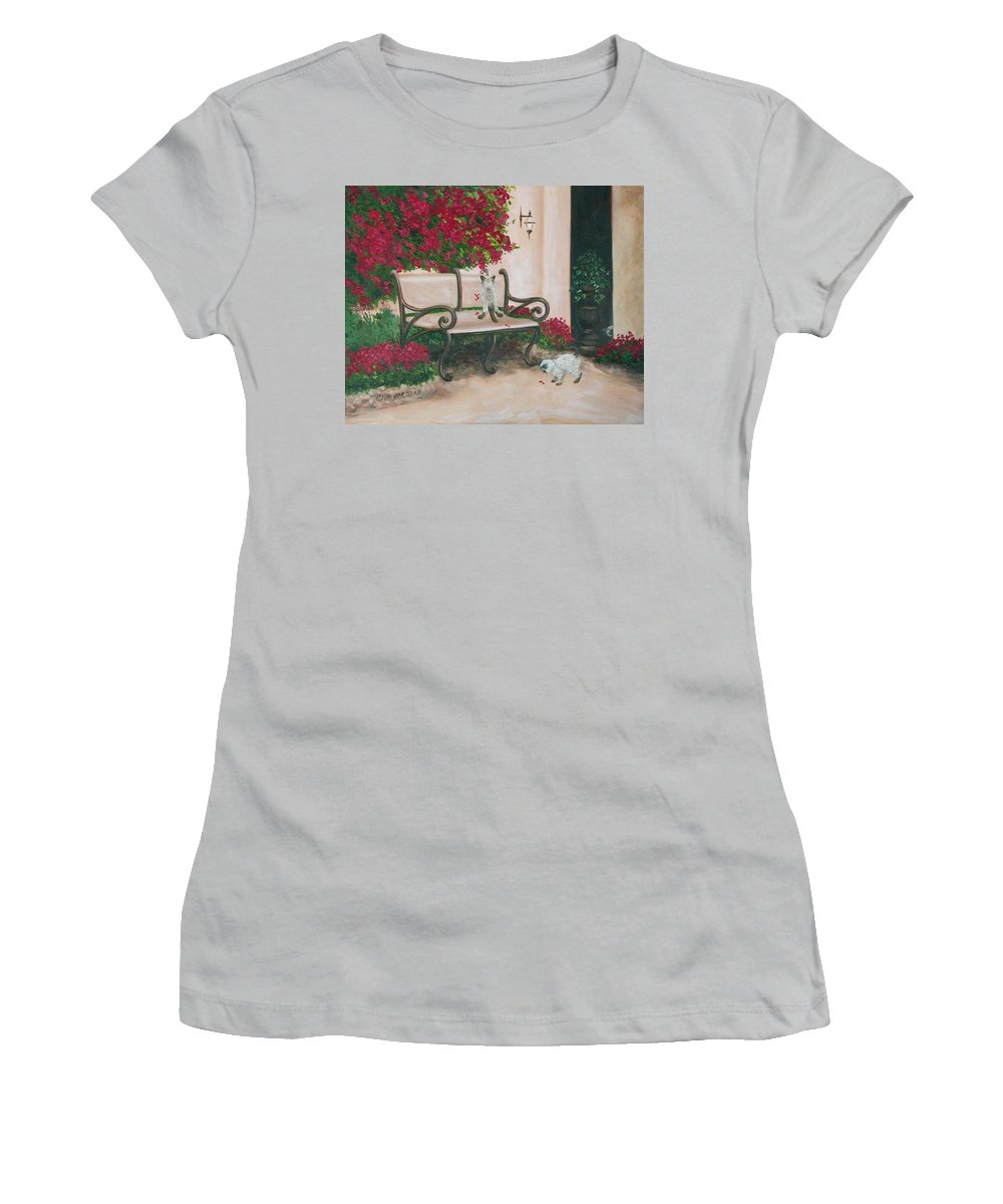Cat Fine Art Women's T-Shirt (Athletic Fit) featuring the painting Cat Art Print On Canvas Oil Painting Hire Commission Pet Portrait Artist by Diane Jorstad