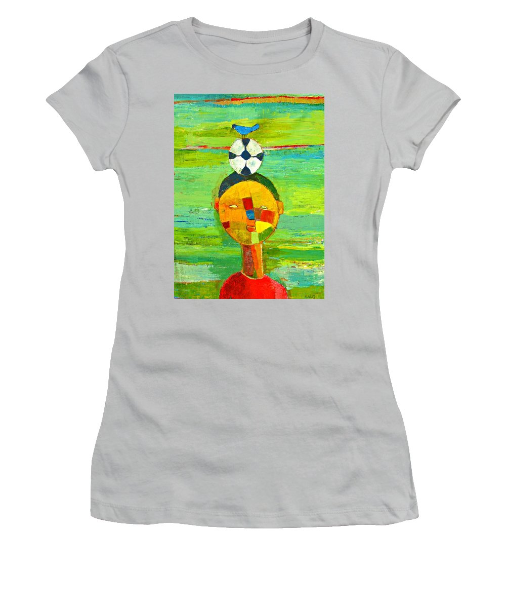 Childhood Women's T-Shirt (Athletic Fit) featuring the painting Childhood Memories by Habib Ayat