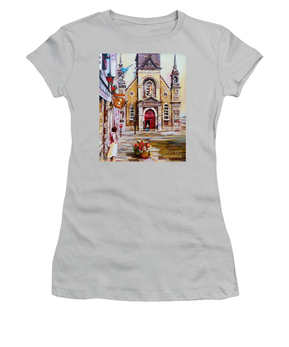 Montreal Churches Women's T-Shirt (Athletic Fit) featuring the painting Church On Sunday by Carole Spandau