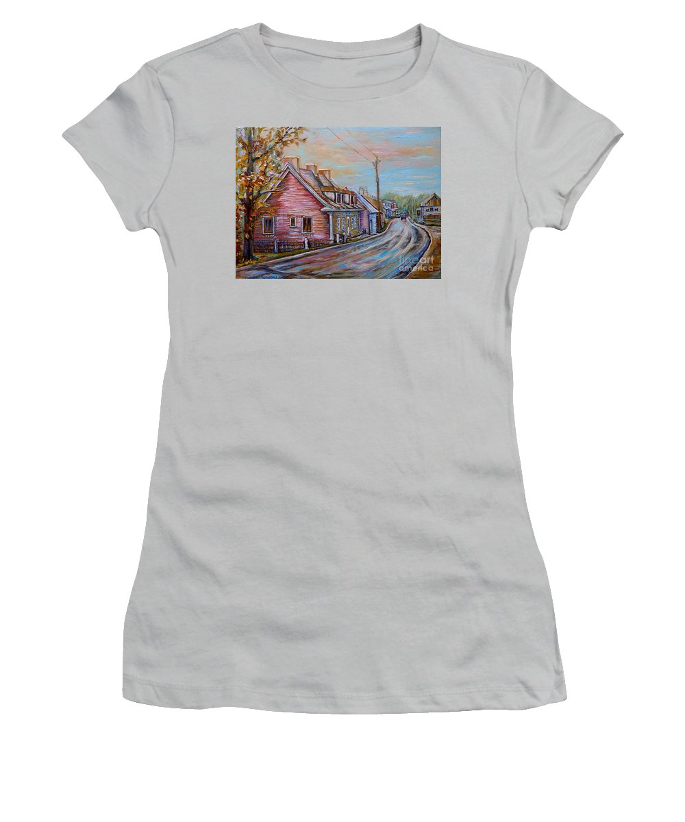 Ile D'orleans Women's T-Shirt (Athletic Fit) featuring the painting Country Road Pink House by Carole Spandau