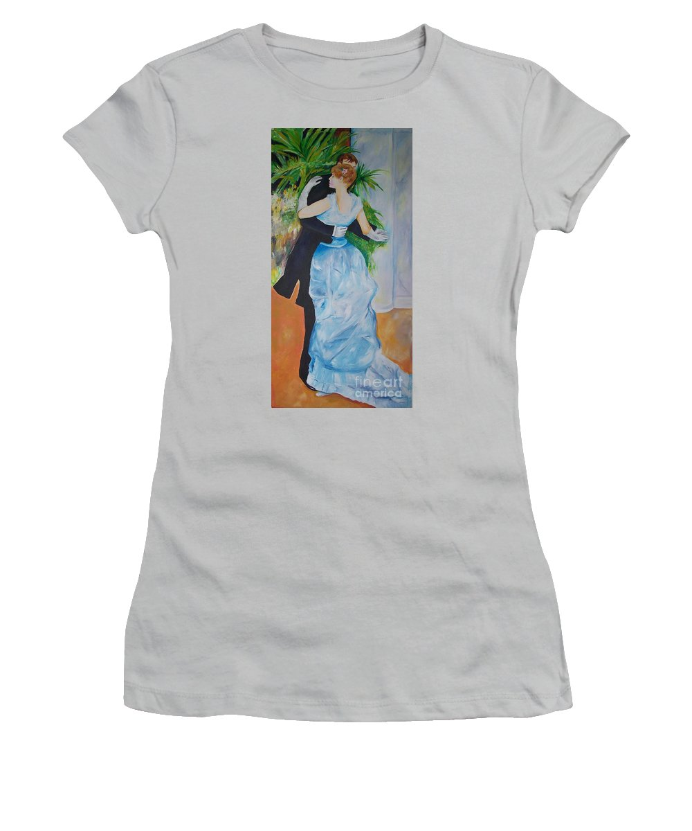 Lavender Women's T-Shirt (Athletic Fit) featuring the painting Dance In The City by Eric Schiabor
