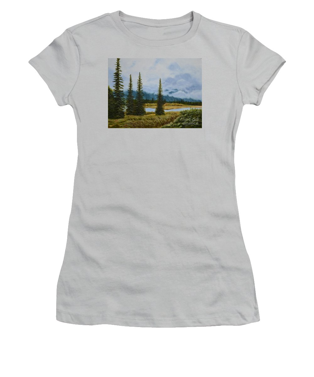 Usa Women's T-Shirt (Athletic Fit) featuring the painting Denali Morning by Mary Rogers