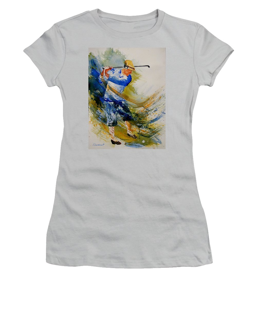 Golf Women's T-Shirt (Athletic Fit) featuring the painting Golf Player by Pol Ledent