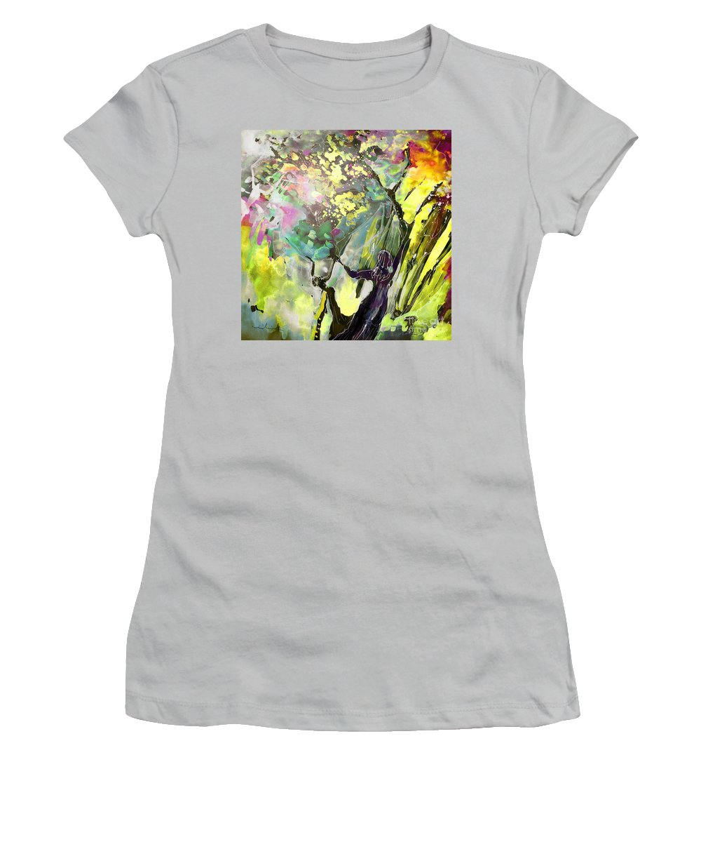 Fantasy Women's T-Shirt (Athletic Fit) featuring the painting Grace Under Pressure by Miki De Goodaboom