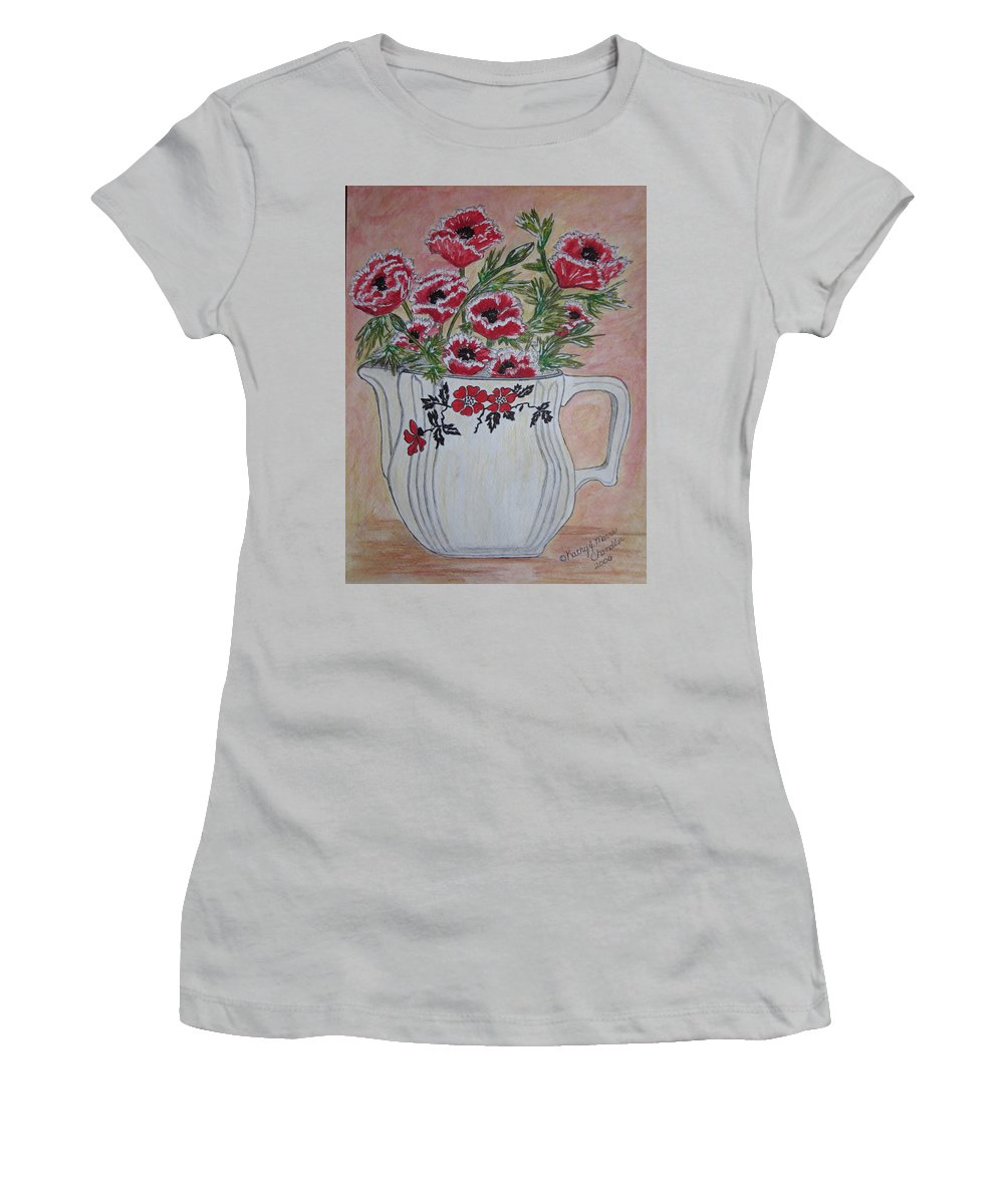Hall China Women's T-Shirt (Athletic Fit) featuring the painting Hall China Red Poppy And Poppies by Kathy Marrs Chandler