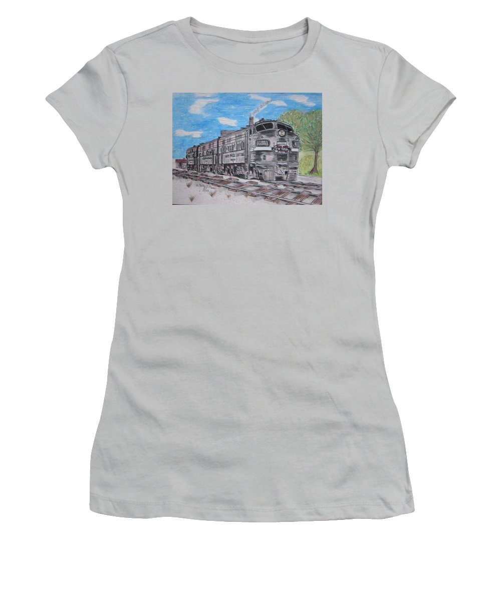New York Women's T-Shirt (Athletic Fit) featuring the painting New York Central Train by Kathy Marrs Chandler