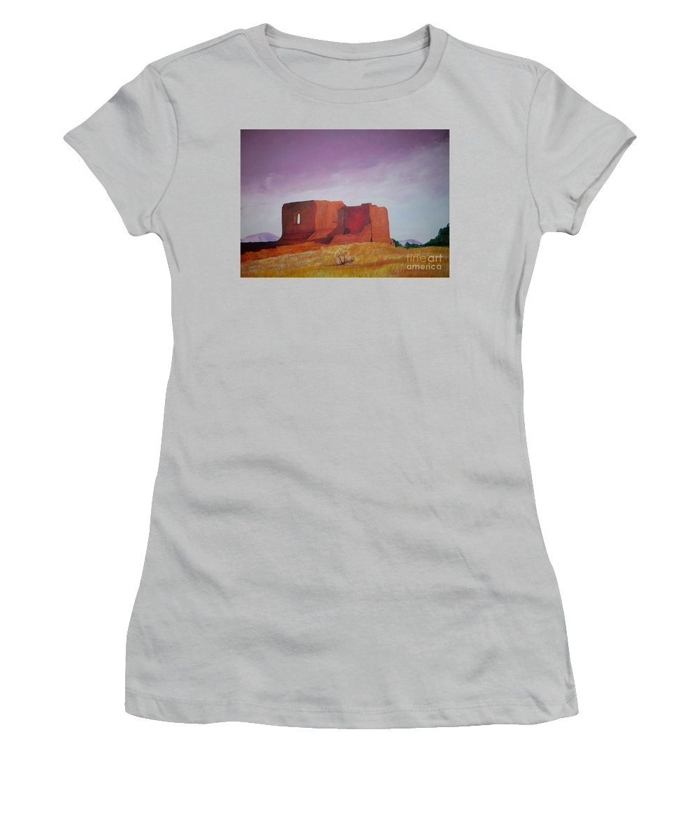 Western Women's T-Shirt (Athletic Fit) featuring the painting Pecos Mission Landscape by Eric Schiabor
