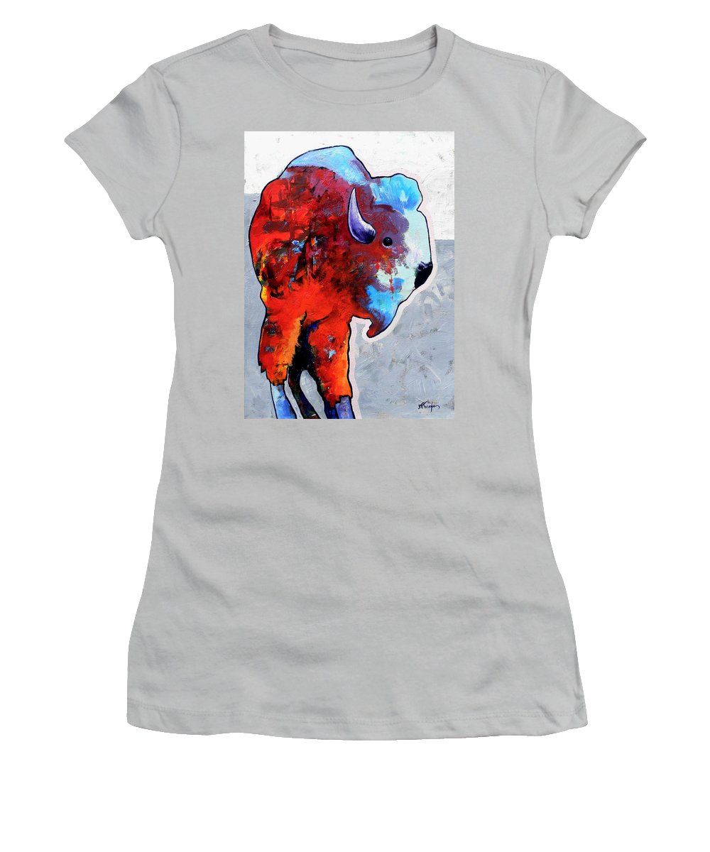 Wildlife Women's T-Shirt (Athletic Fit) featuring the painting Rainbow Warrior Bison by Joe Triano