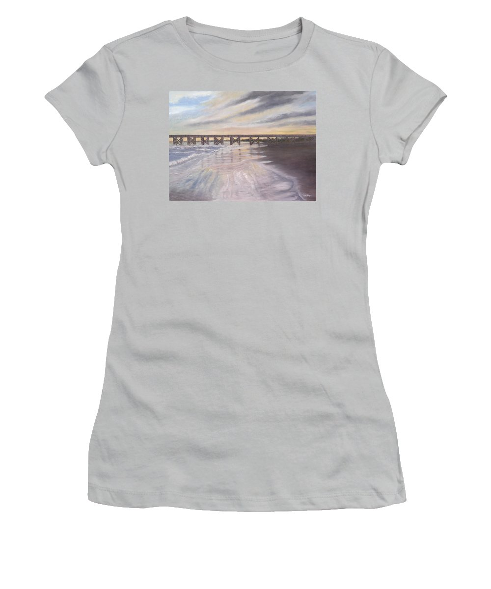 Beach; Pier; Low Country Women's T-Shirt (Athletic Fit) featuring the painting Reflections by Ben Kiger
