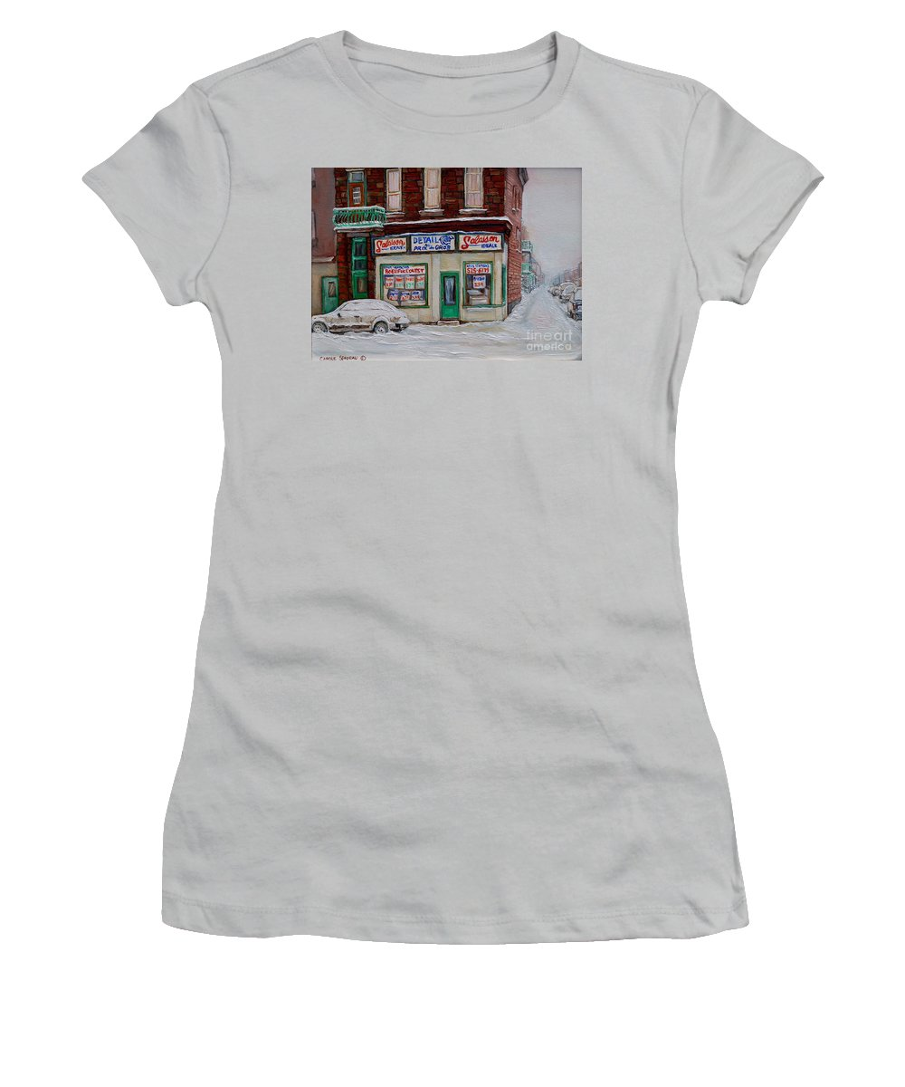 Montreal Women's T-Shirt (Athletic Fit) featuring the painting Salaison Ideale Montreal by Carole Spandau