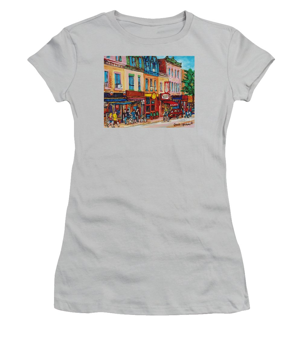 Schwartz Deli Women's T-Shirt (Athletic Fit) featuring the painting Schwartzs Deli And Warshaw Fruit Store Montreal Landmarks On St Lawrence Street by Carole Spandau