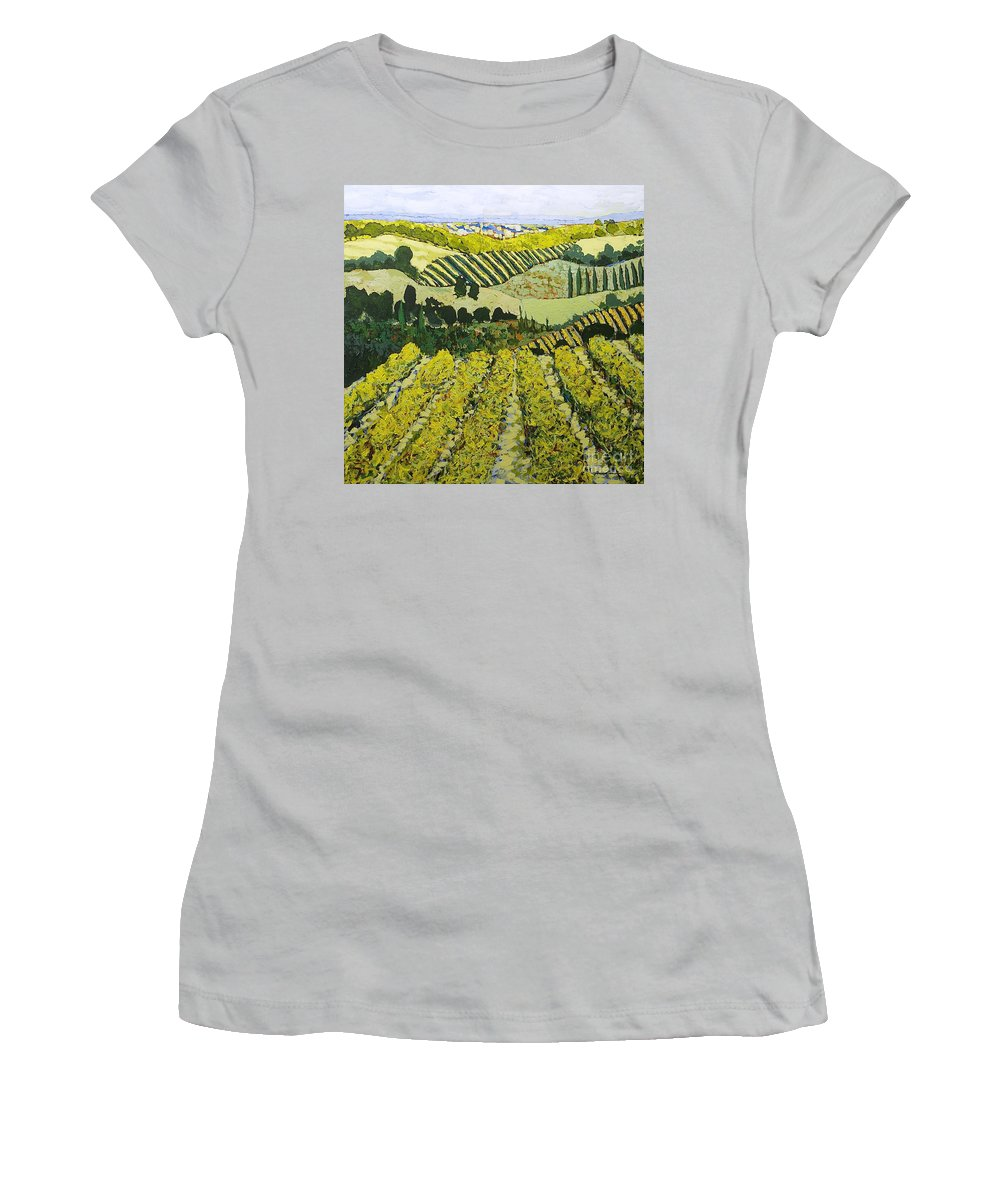 Landscape Women's T-Shirt (Athletic Fit) featuring the painting Sharing The Discovery by Allan P Friedlander