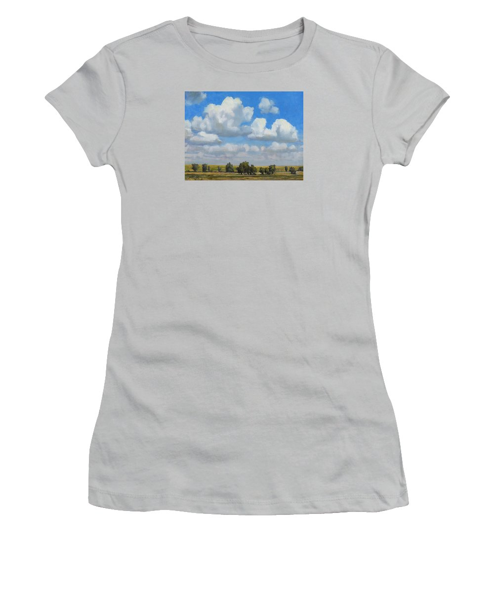 Landscape Women's T-Shirt (Athletic Fit) featuring the painting Summer Pasture by Bruce Morrison