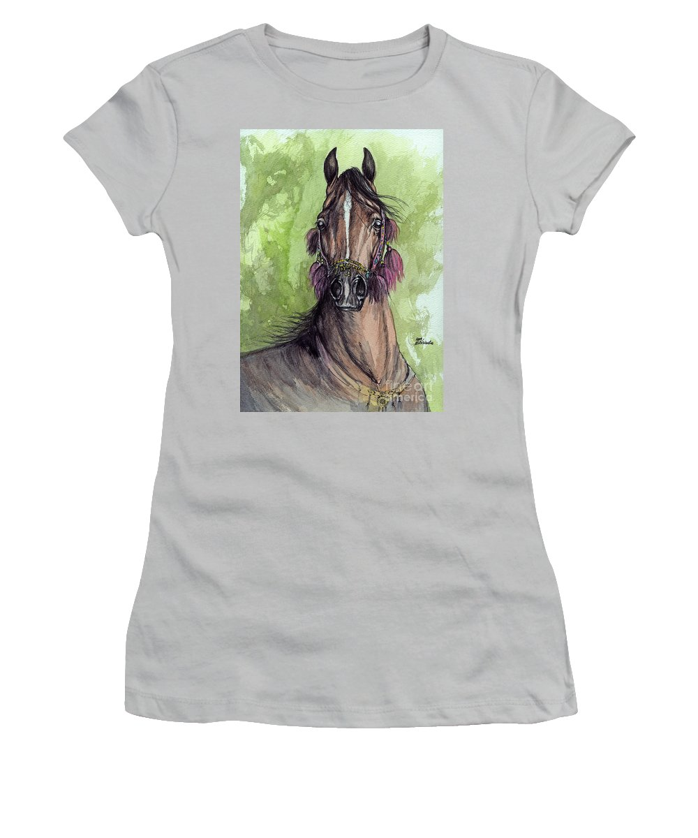 Horse Women's T-Shirt (Athletic Fit) featuring the painting The Bay Arabian Horse 16 by Angel Tarantella