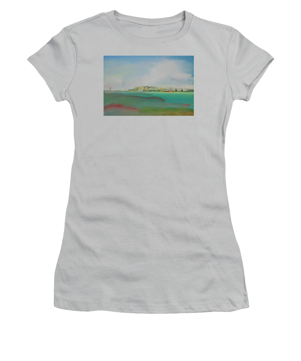 Landscape Women's T-Shirt (Athletic Fit) featuring the painting The English Farm  A Break In The Cloud by Charles Stuart