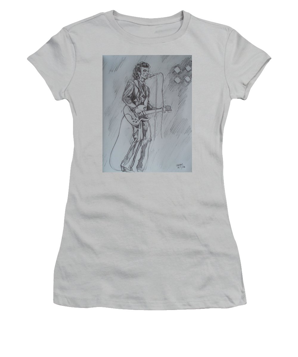 Pencil Women's T-Shirt (Athletic Fit) featuring the drawing Mink Deville - Steady Drivin' Man by Sean Connolly
