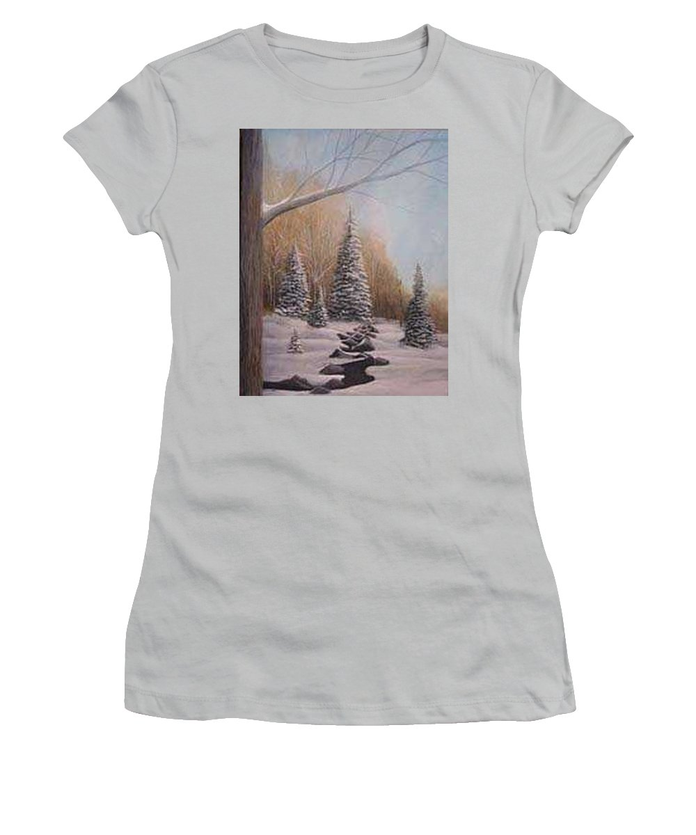 Rick Huotari Women's T-Shirt (Athletic Fit) featuring the painting Winter Morning by Rick Huotari