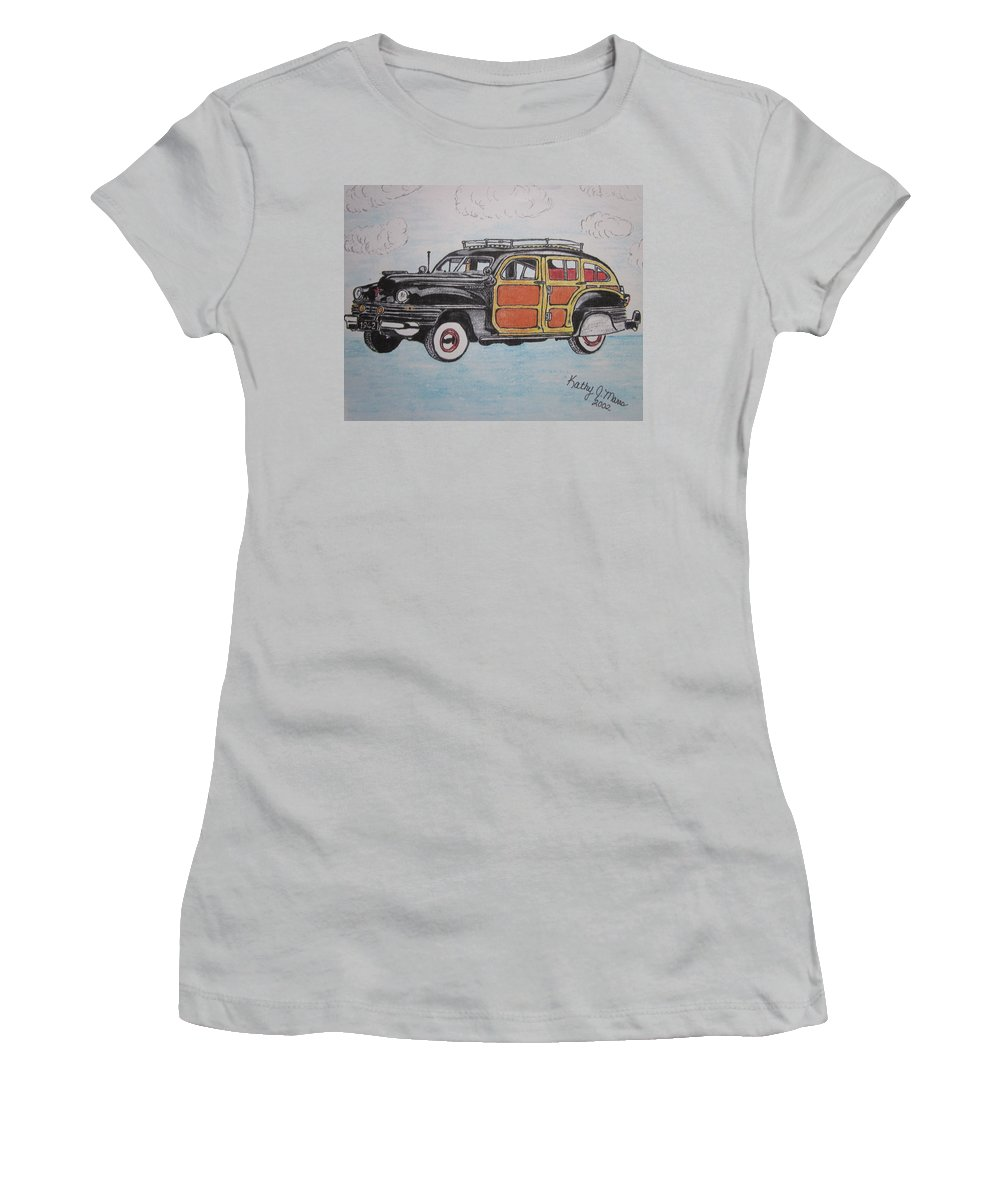 Woodie Women's T-Shirt (Athletic Fit) featuring the painting Woodie Station Wagon by Kathy Marrs Chandler