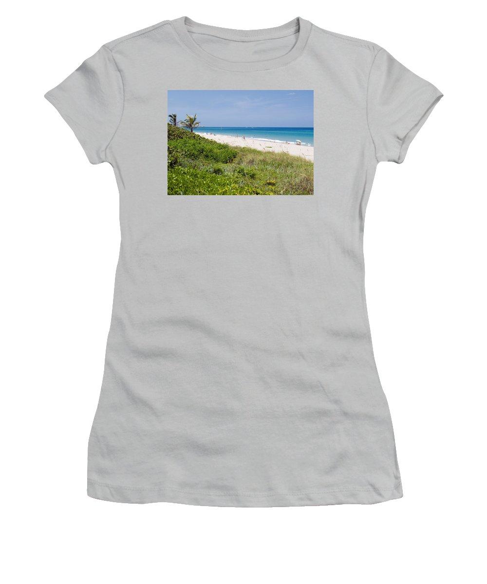 Juno; Florida; Loxahatchee; River; Jupiter; Inlet; Swim; Swimming; Children; Girl; Boy; Woman; Man; Women's T-Shirt (Athletic Fit) featuring the photograph Juno Beach In Florida by Allan Hughes