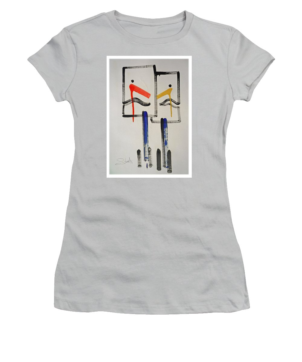 Native American Women's T-Shirt (Athletic Fit) featuring the painting Native Americans by Charles Stuart