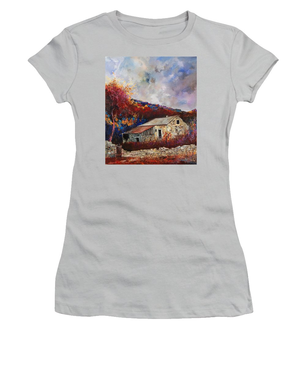 Village Women's T-Shirt (Athletic Fit) featuring the painting Old Barn by Pol Ledent