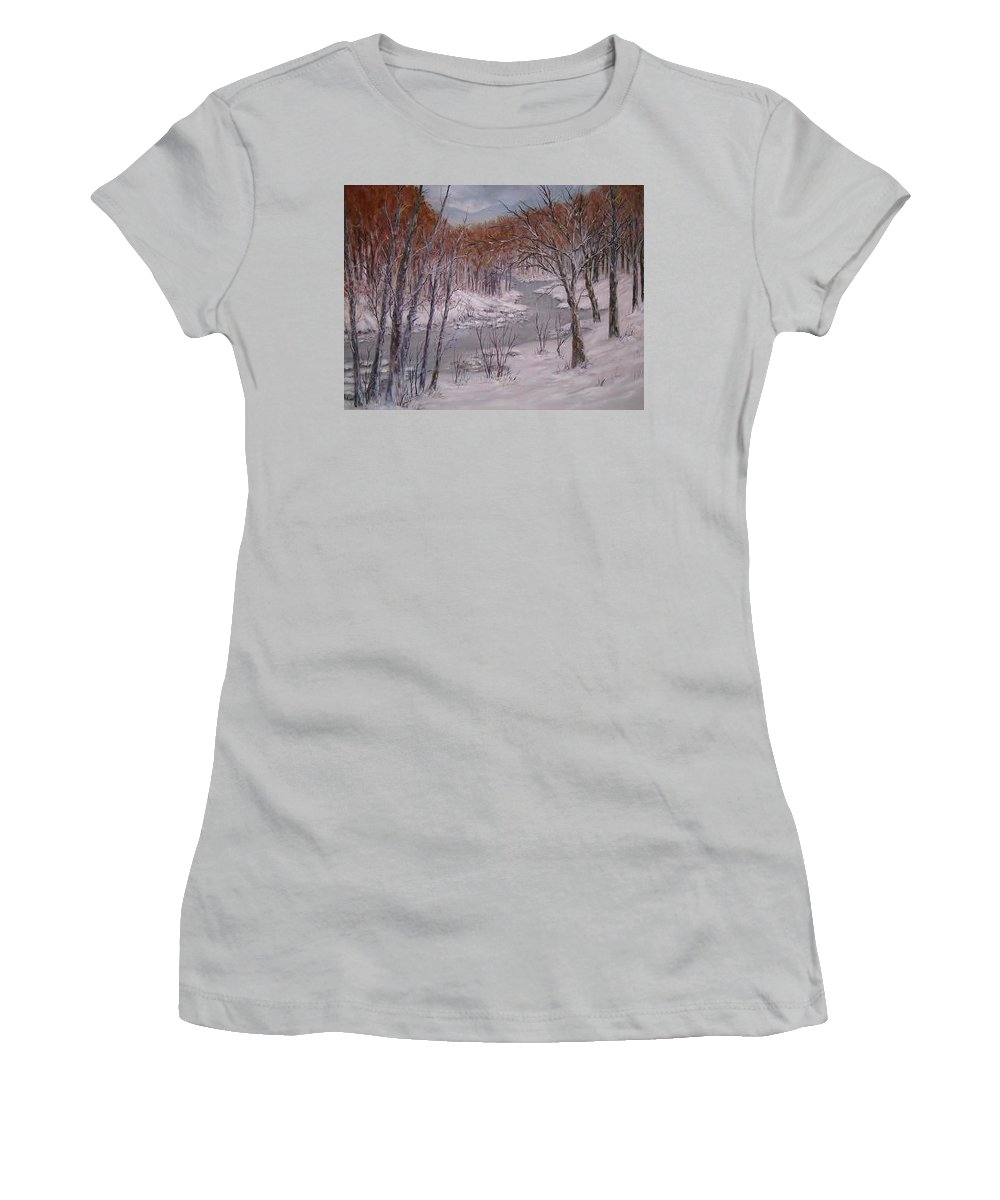 Snow; Landscape Women's T-Shirt (Junior Cut) featuring the painting Peace And Quiet by Ben Kiger