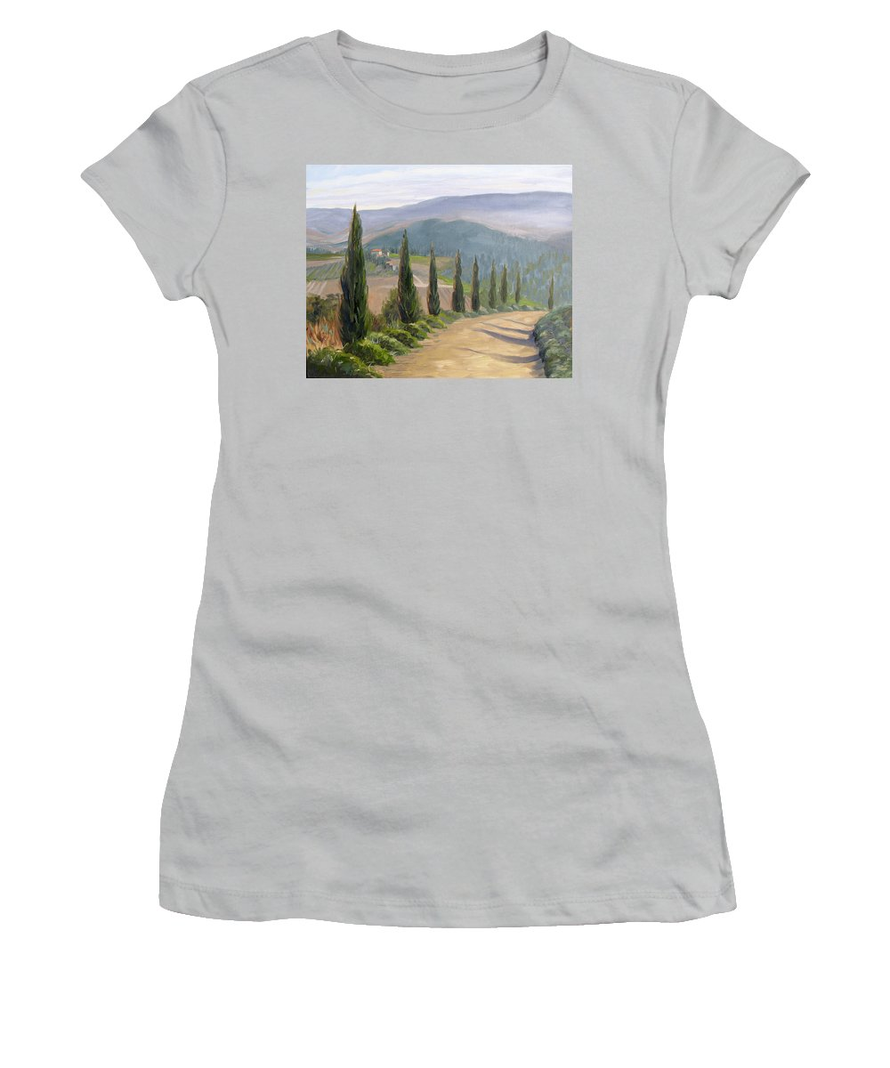 Landscape Women's T-Shirt (Athletic Fit) featuring the painting Tuscany Road by Jay Johnson
