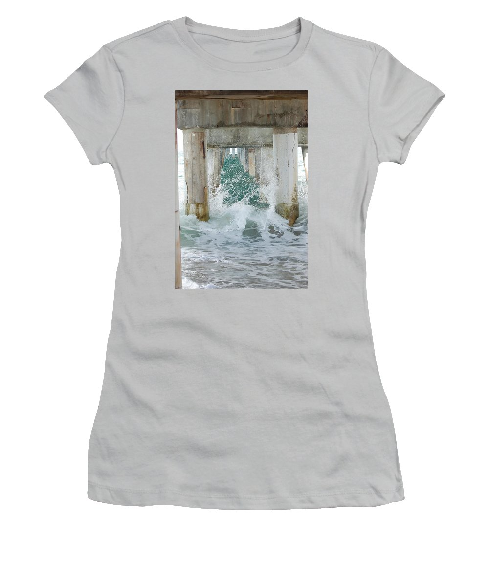 Ocean Women's T-Shirt (Athletic Fit) featuring the photograph Under The Boardwalk by Rob Hans