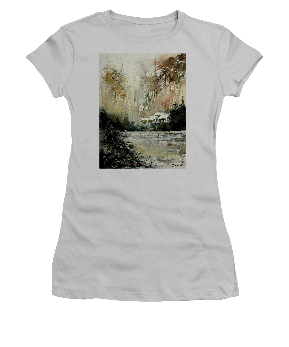 Water Women's T-Shirt (Athletic Fit) featuring the painting Watercolor 070608 by Pol Ledent