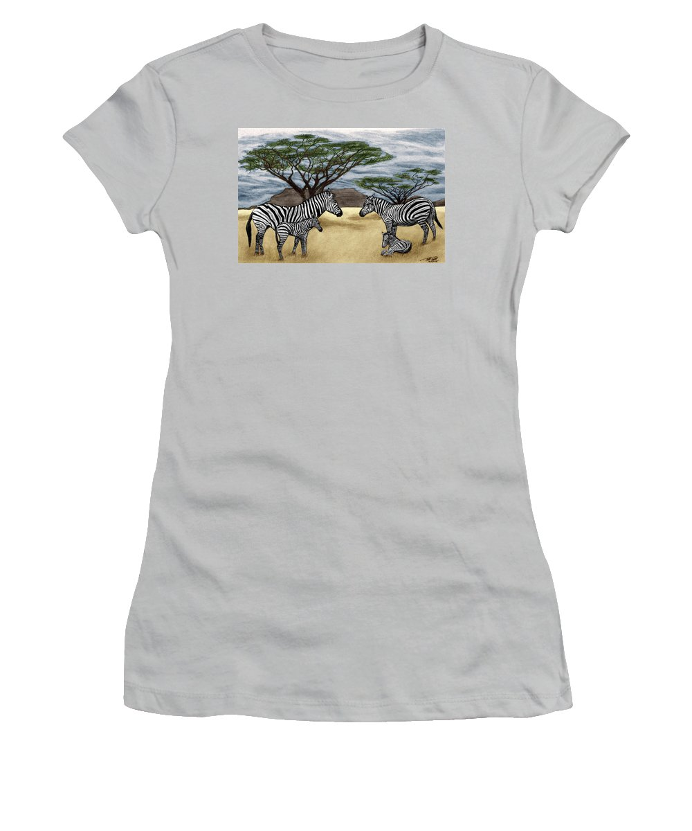 Zebra African Outback Women's T-Shirt (Athletic Fit) featuring the drawing Zebra African Outback by Peter Piatt