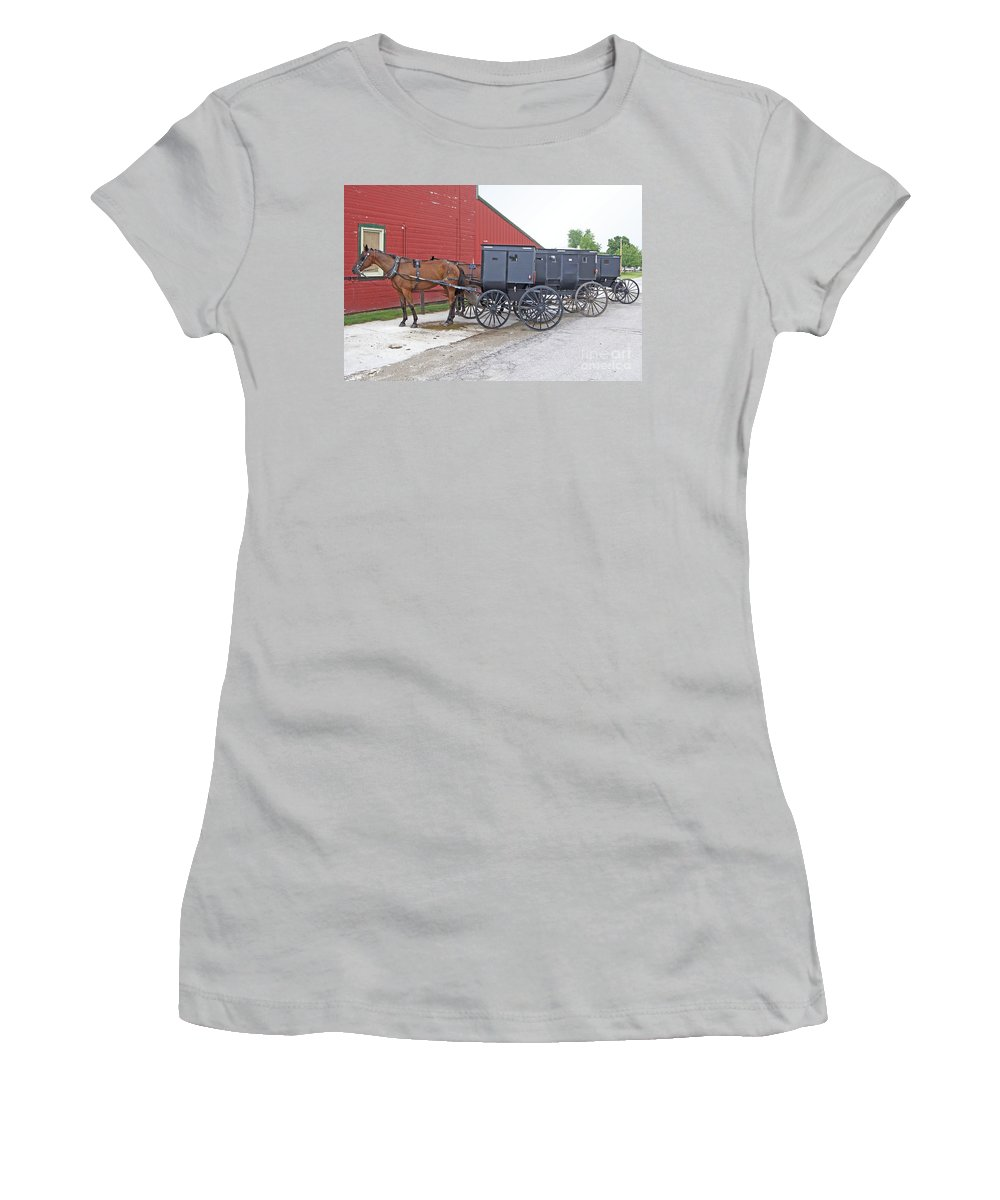 Amish Women's T-Shirt (Athletic Fit) featuring the photograph Amish Parking Lot by Ann Horn